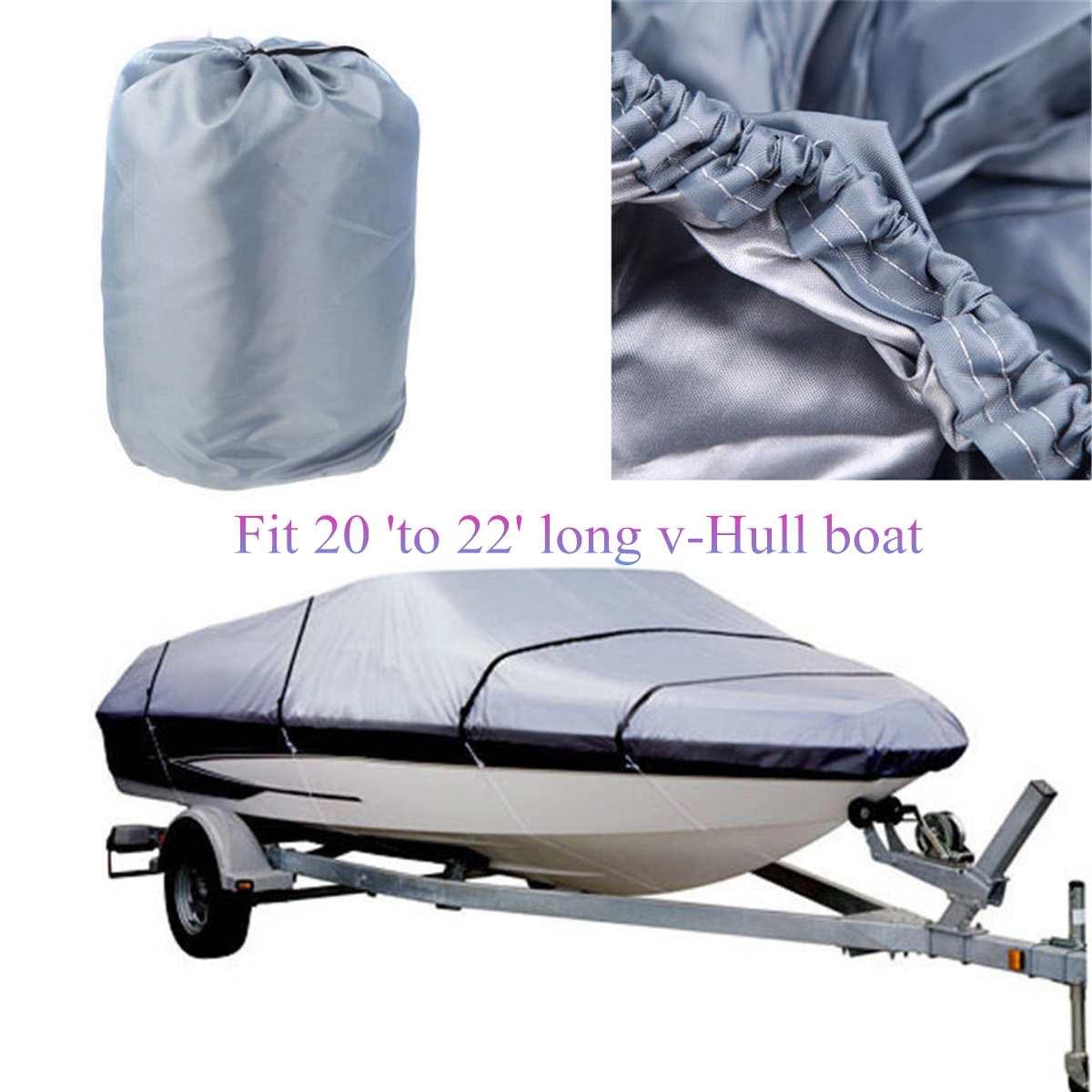 Couverture de bateau de Ski de pêche de faisceau de 600D 20-22FT imperméable couverture Marine résistante de bateau de remorque Protection UV abri gris d'auvent