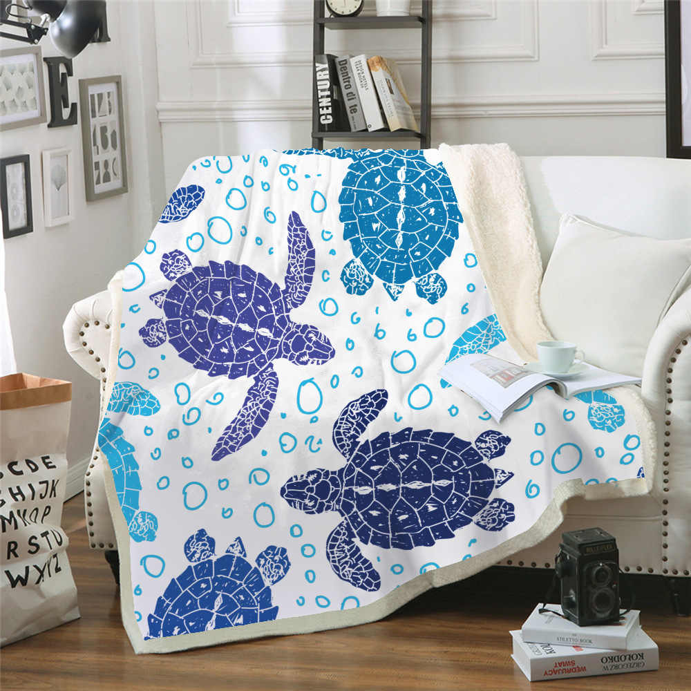 Sofá cojín de Yoga manta de aire acondicionado manta gruesa de doble capa de felpa 3d Digital impreso manta serie tortuga