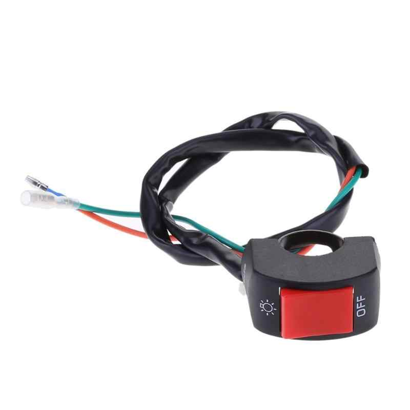 1pc 12V 7/8in 22mm 2 Wires Motorcycle Handlebar On/Off Switch for LED Headlight Fog Head Lamp Eye Light Car Styling Switch