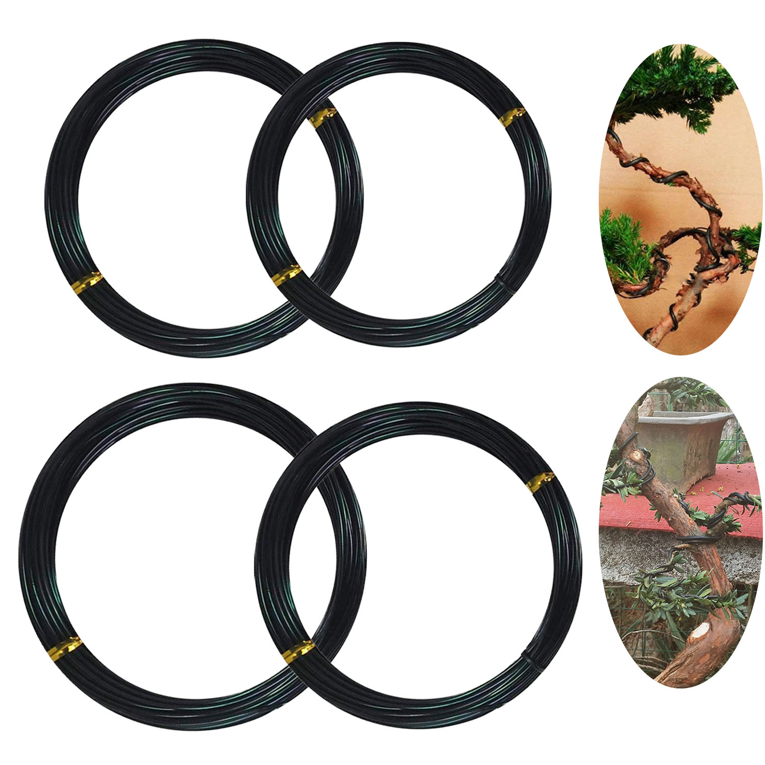 4 Roll 10m Aluminum Tree Training Wires For Garden Plants Bonsai Beginners Trainers Artists 1.0mm/1.5mm/2mm/2.5mm Black