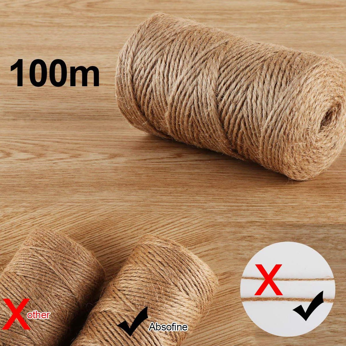Garden Cord with 100 Clothespins Wood 3.5cm Craft Cord Jute Cord 100M Natural Jute Cord Clothespins Packing Party Favor