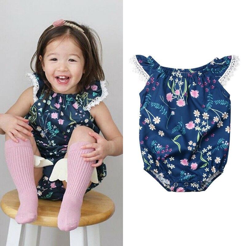 Pudcoco Girl Jumpsuits 0-18M AU Toddler Baby Girls Lace Floral   Romper   Jumpsuit Outfits Set Sunsuit