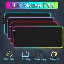 Duża dioda LED RGB wodoodporna podkładka pod mysz do gier USB przewodowa podkładka pod mysz dla graczy podkładka pod mysz 7 Dazzle kolory na komputer PC cheap LEORY CN (pochodzenie) RUBBER LED Mouse pad Zdjęcie