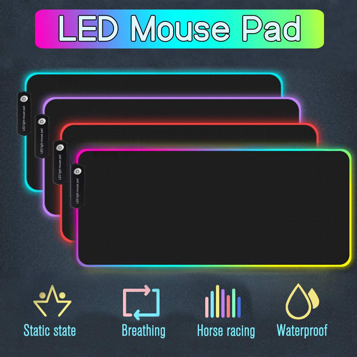 Large LED Light RGB Waterproof Gaming Mouse Pad USB Wired Gamer Mousepad Mice Mat 7 Dazzle Colors For Computer PC