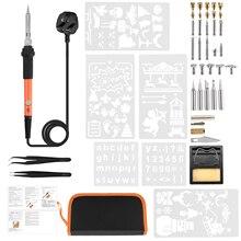 Handskit Conjunto de lápices quemadores de madera, 45 Uds., 110V/220V 60W, soldador eléctrico, pluma para soldar en madera, herramienta de pistola para soldar Digital
