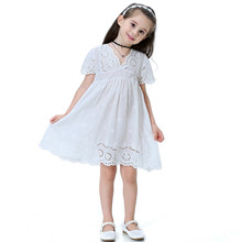 Kids girls dress 2019 summer new cotton hollow embroidery flying sleeve childrens clothing