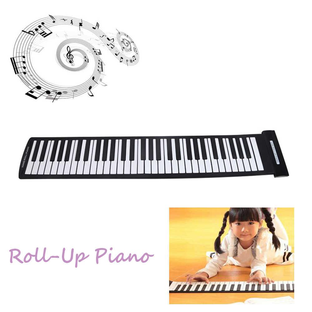 محمول 61 مفاتيح مرنة نشمر البيانو USB ميدي لوحة المفاتيح الإلكترونية اليد لفة البيانو