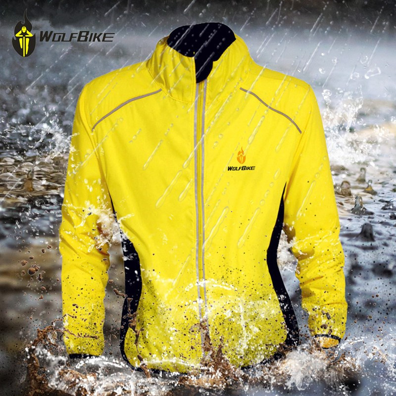 WOLFBIKE Windproof Men Cycling Jackets Tour de France Reflective Waterproof High Visibility Light Sports Coat MTB Bike Jersey