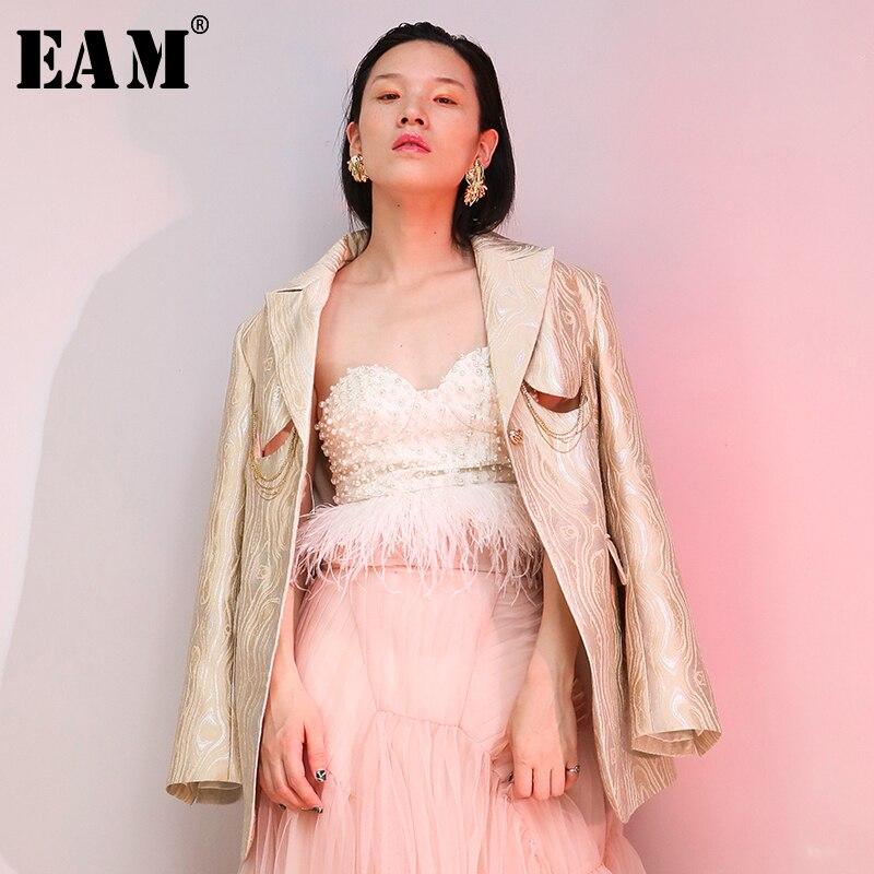 Ample Marée 2019 Beige Printemps Femmes Mode Évider Jacquard Longues Lurex eam Manches Revers De À Nouveau Jh583 Rétro Veste Manteau T7T1dqH