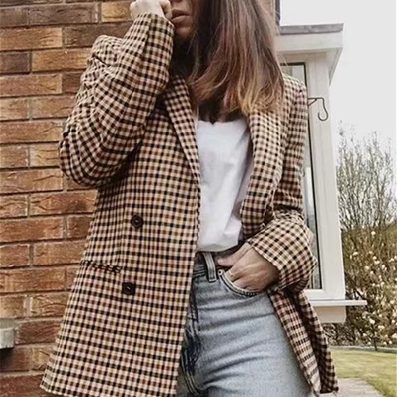 2018 Autumn Ol Double Breasted Plaid Blazer Preppy Notched Neck Pocket Loose Coat Long Casual Bf Pockets Blazers pocket