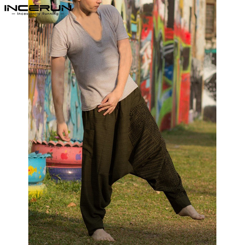 INCERUN Brand Hiphop Harem Pants Men Baggy Pants Wide Legs Drop Crotch Loose Fitness Joggers Dance Sweatpant Pantalon Clothing