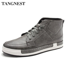 Tangnest New 2017 Autumn Men Shoes Man Fashion Microfiber Flats Shoes Korean Style Lace Up High Top Footwear For Male XMB532