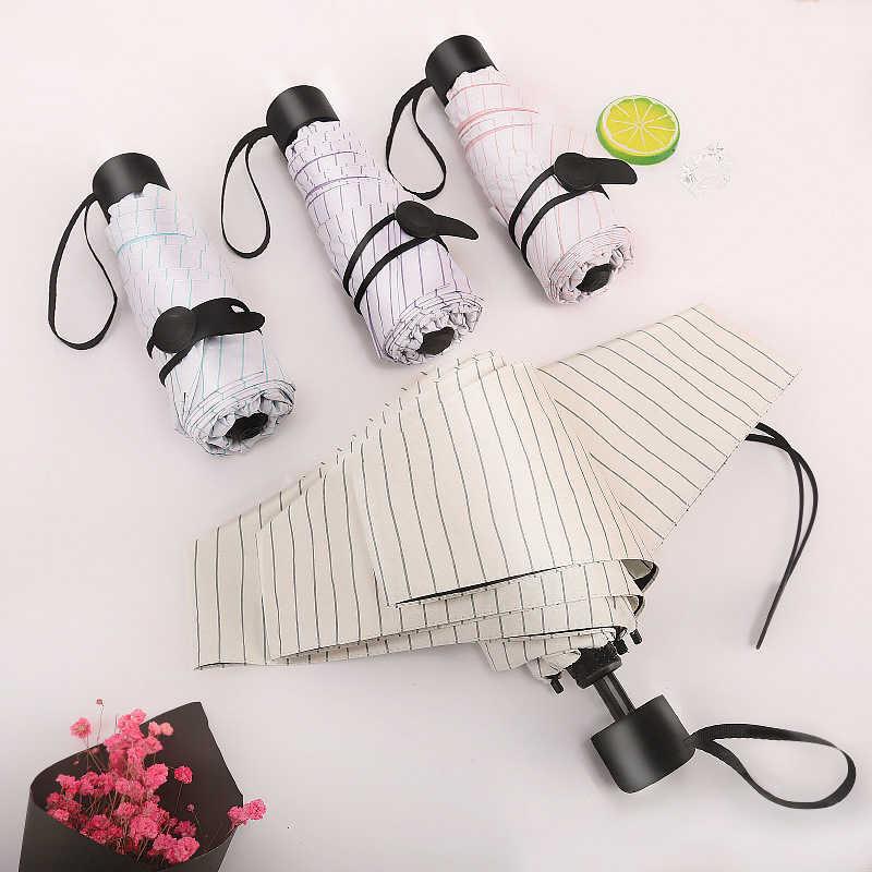 Пять раз черный пластиковый зонтик защита от солнца зонты мини плед полосы складной зонт от солнца