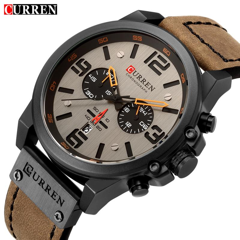 Men Military Sport Wristwatch Leather Quartz Watch Erkek Saat 8314