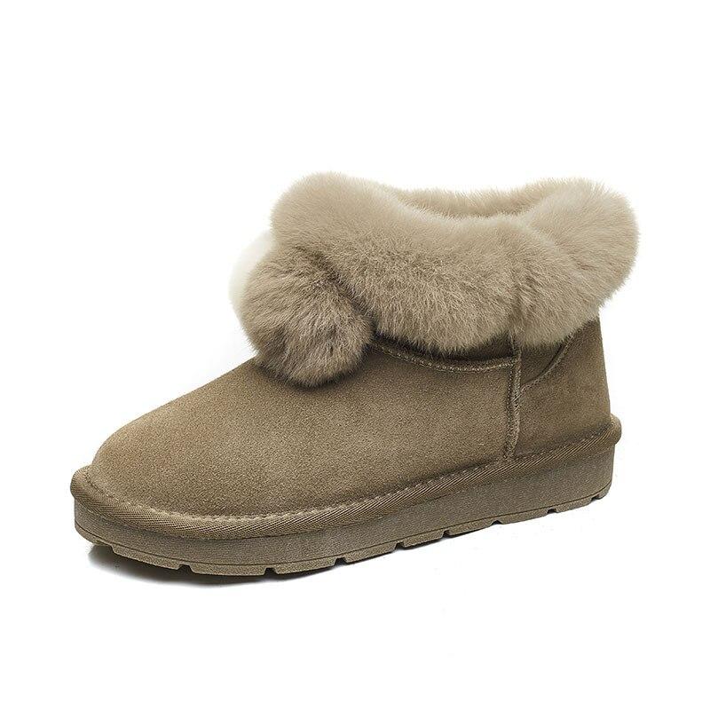 Femmes mushroom Confortable D'hiver Chaussures Au Chaud Véritable khaki Hiver Femme Cuir glissement Colour Courte Garder pink Non Fond Bottes Black Plat ZFTOxq