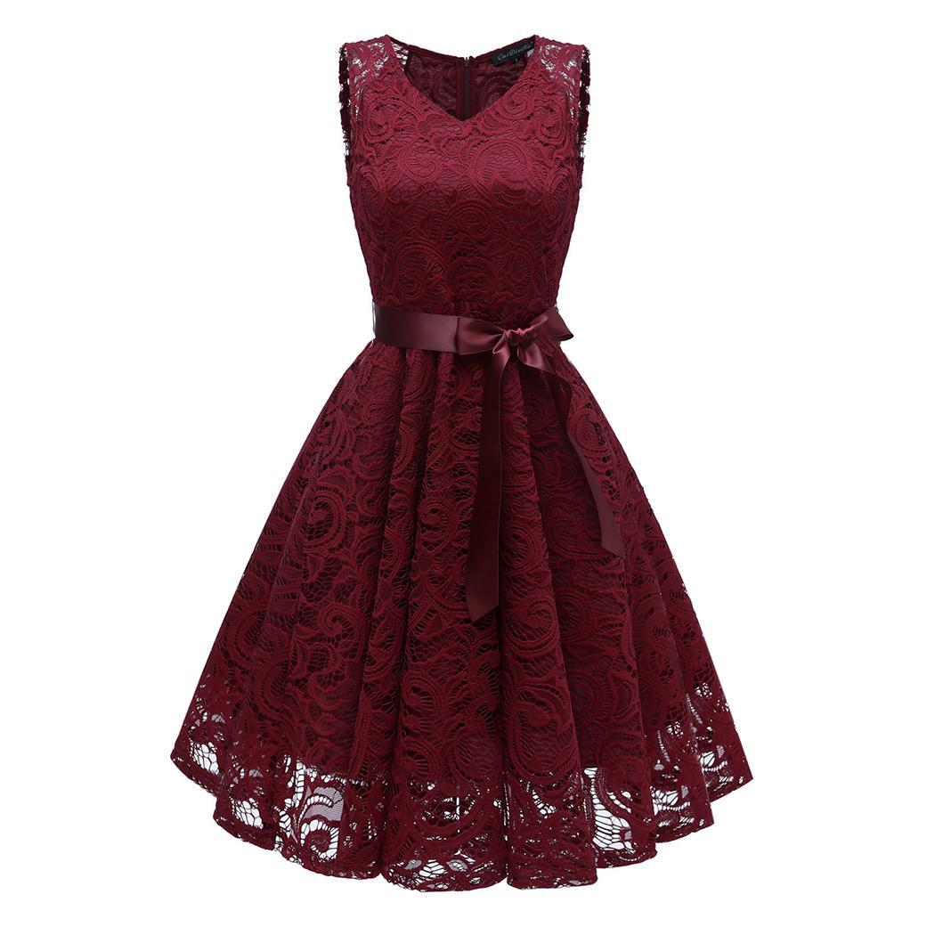 AL'OFA Lace   Cocktail     Dresses   Homecoming   Dress   Women V-Neck Sleeveless Floral Lace Patchwork Vintage Prom Party Gowns