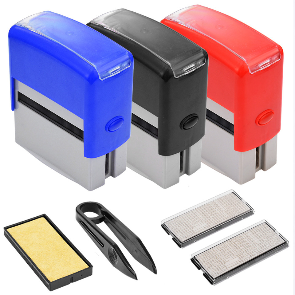 1 Set Black Blue Red Self Inking Stamp