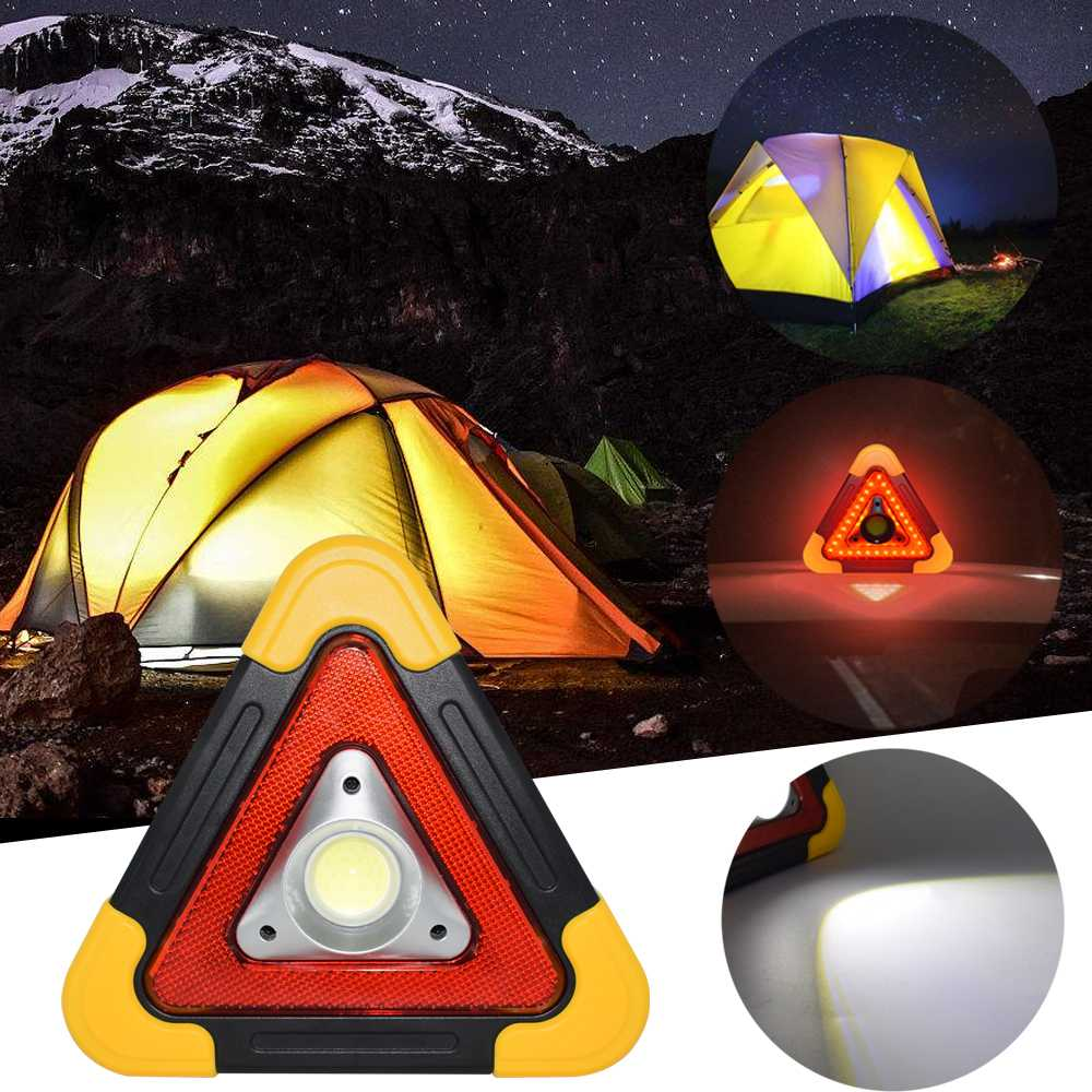 Claite Portable Cob Led Work Light Multi-function Triangle Warning Traffic Lamp Camping Searchlight
