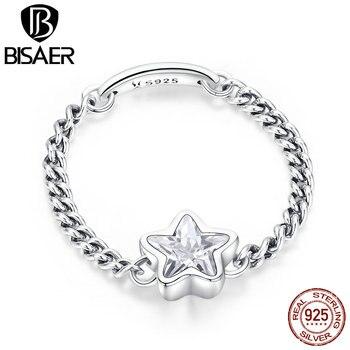 1ade481566b4 Cadena 2019 anillo de Plata de Ley 925 CZ piedra estrella grabar anillos de  enlace para las mujeres único Original diseño de moda joyas GXR435