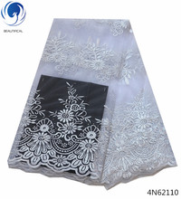 Beautifical tulle lace fabric white fabrics embroidery african for clothing 5yards/lot lady 4N621