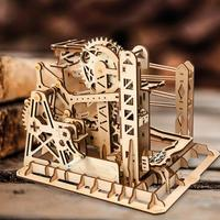 3D Wooden Toys Marble Run Game DIY Waterwheel Coaster Puzzle Building Kit Assembly Toys Constructor Toys Gift
