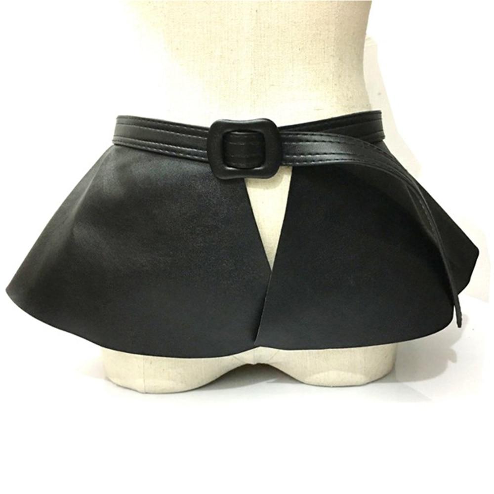 Wide Gold   Belt   Women Corset Metal Decorated   Belts   Pu Leather Ruffle Skirt Peplum Waistband Cummerbunds Female Dress Strap Girdle