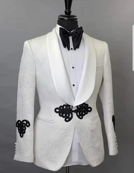 Elegant Wedding Groom Suit 2019 China Designs Tailor Made Mens Suits With Pants White Printed Tuxedo Jacket Prom Suits For Men