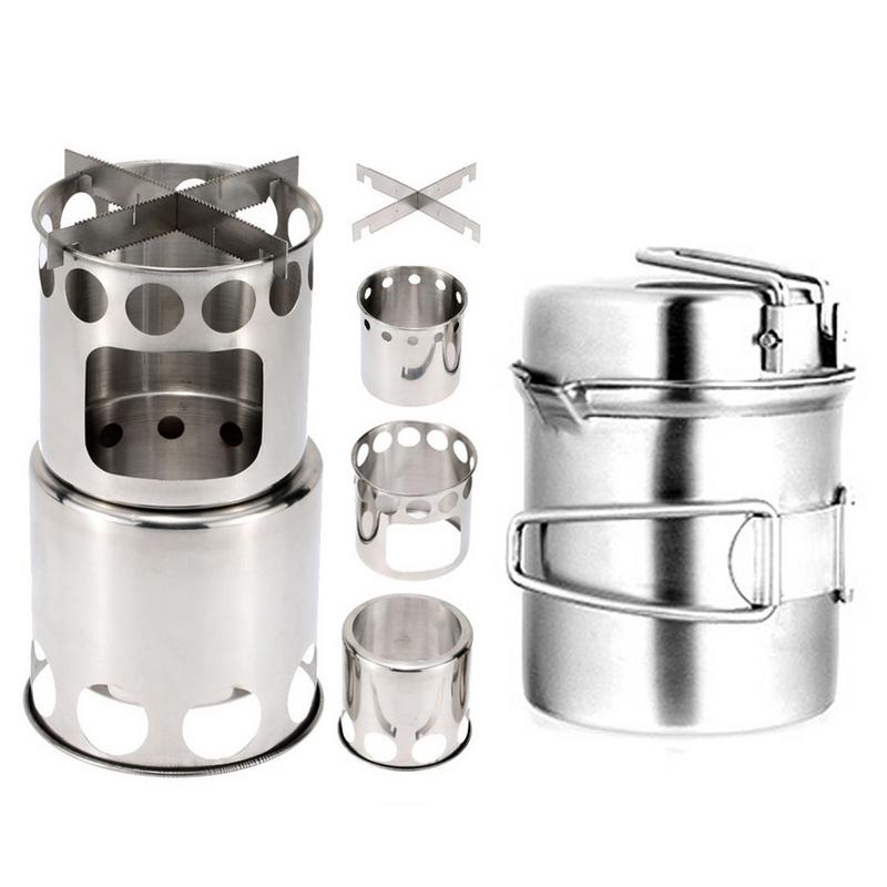 High Quality Portable Outdoor Camping Wood Stove Pot Set Stove Sub Outdoor Picnic Folding Hiking Travel Firewood Stove Pot|Outdoor Stoves| |  - title=