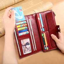 Leather Wallet Female Clutch Bag Europe And America Retro Oil Wax Skin Ladies Long