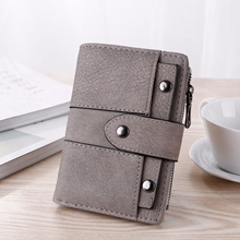Spring And Summer Short Wallet Retro Matte Ladies Students Tri-Fold Small Rivet Buckle