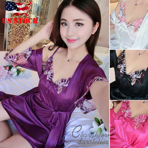 783c74a61baf2 Womens Silk Satin Robe Kimono Robes Short Bathrobe Sexy Sleepwear Sling V  Neck Embroidery Dresses Women