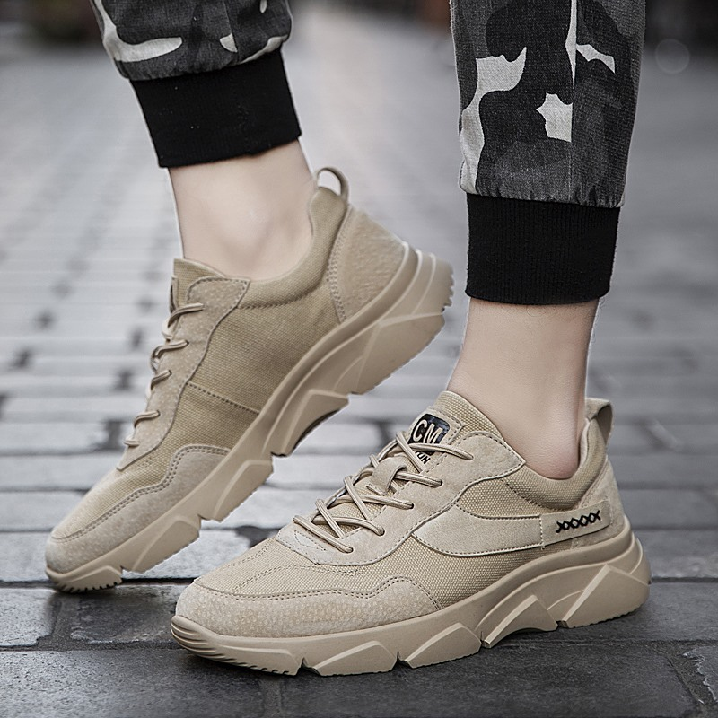 Homens Running Shoes branco Sand Confortável Sapatos Lac Walking Sneakers Coreano Casuais Estilo up Respirável SvSrFwgxAq
