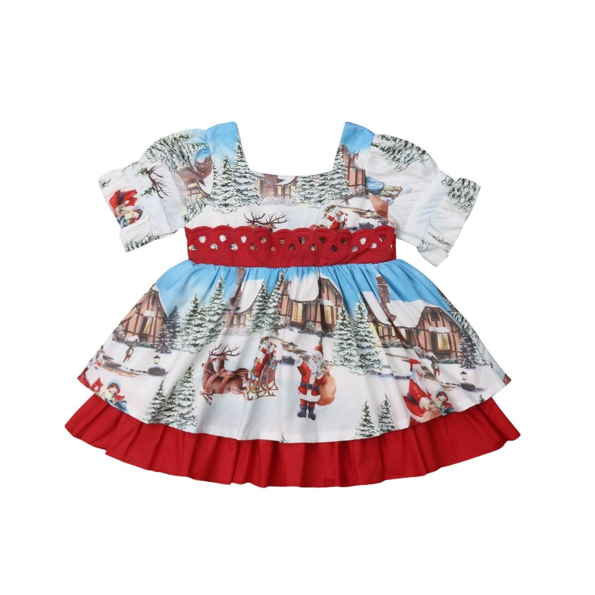 UK Christmas Toddler Baby Kids Girl Retro Flared Party Santa Swing Dress Dresses