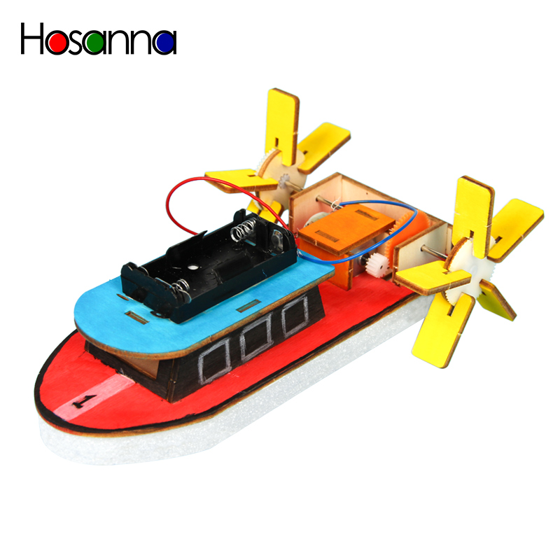 Kids DIY Electric Motor Boat Wooden Science Model Kit Primary School Student Physics Learning Educational Toys For Children