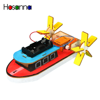 Kids DIY Electric Motor Boat Wooden Science Model Kit Primary School Student Physics Learning Educational Toys for Children image