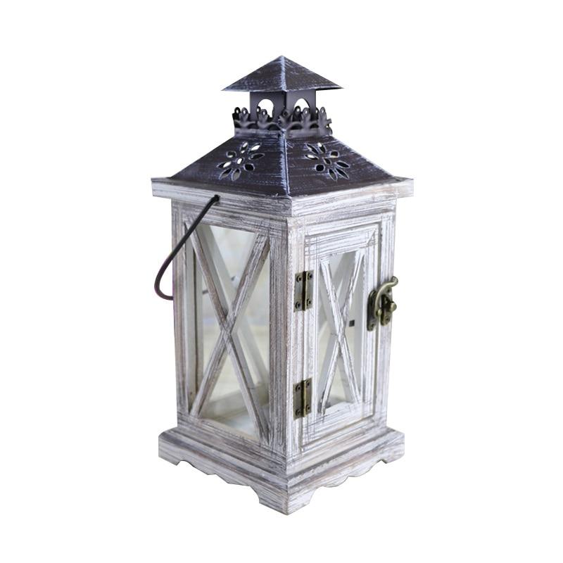 Créatif rétro en bois vent chandelier ornement bureau Figurine Vintage bougeoir Miniature décoration de la maison accessoires cadeaux