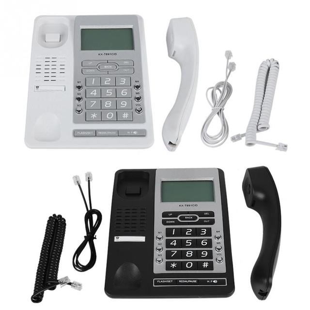 DTMF/FSK Systems Display LCD 5-grupo de Desktop Com Fio de Telefone de Discagem rápida Para Casa Com Fio de Telefone de Mesa Com Fio de Telefone
