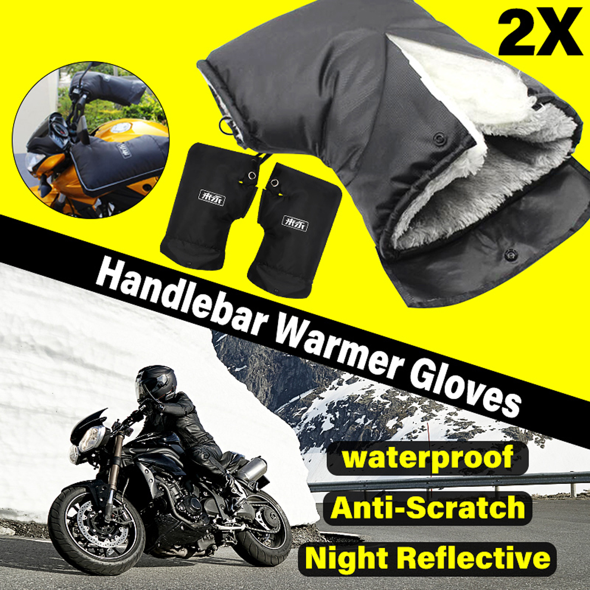 лучшая цена Waterproof Motorbike/Scooter Handlebar Gloves 36x24cm Winter Handlebar Grip Hand Muffs Bike Gloves Scooter Mitts Hand Warmer