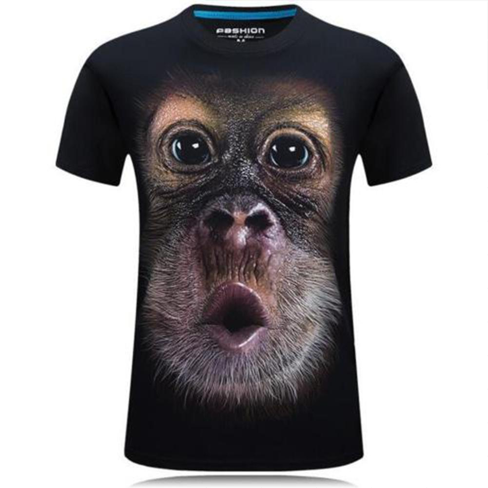 MISSKY Men T Shirt Funny 3D Monkey Pattern Digital Printing Hip Hop Short Sleeve O Neck T-shirt Male Clothes For Summer