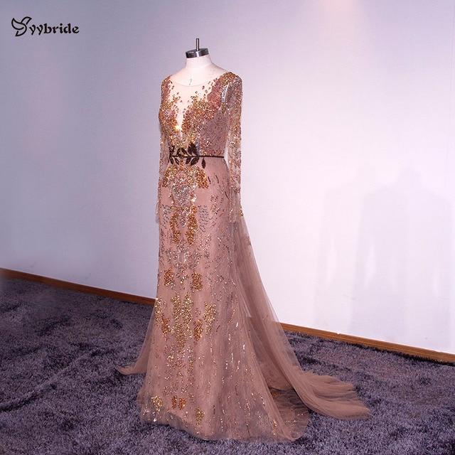 YYbride New Design Scoop Neck Mermaid Floor Length Evening Dresses Backless V-Neck Luxury Lace Beading Belt Celebrity Dresses 1