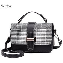 witfox Pearl lock plaid shoulder bags ladies street wear fashion style carry package 2019 cross body bag for girls