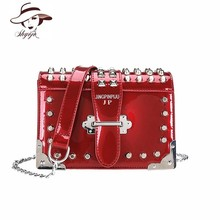 Luxury Patent Leather New Women Handbag Rivet Brand Designer Crossbody