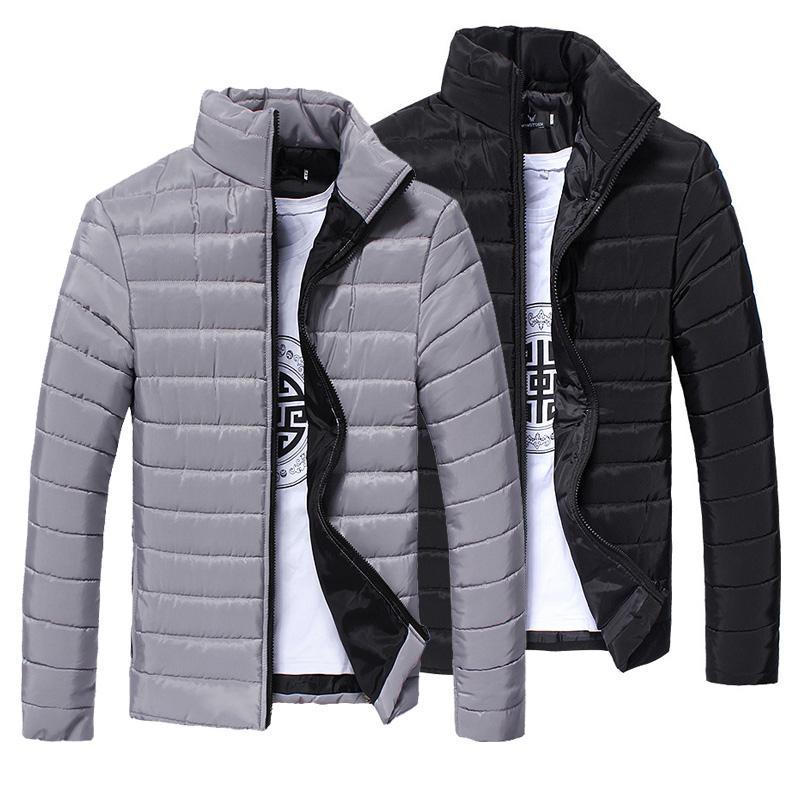 ZACOO Men Winter Down Cotton Padded Jacket Standing Collar Zipper Outwear Coat Warm Blouse