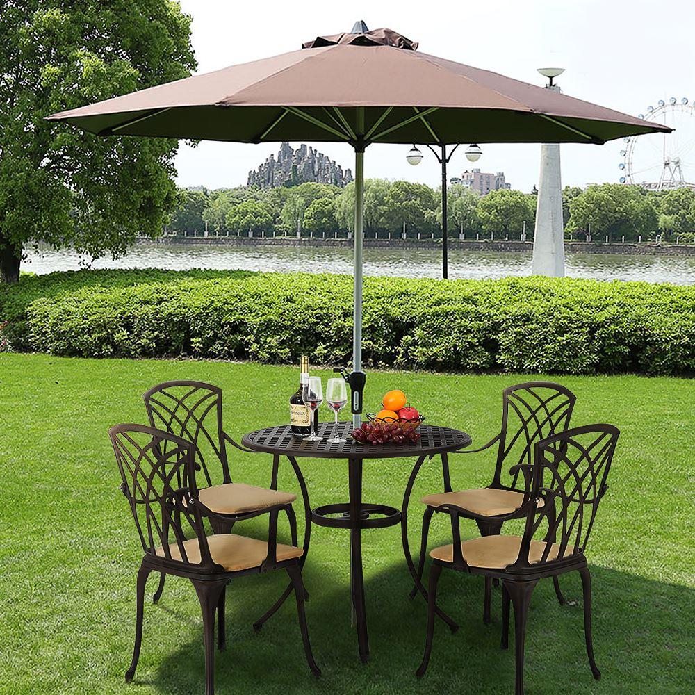 Panana 5 Piece Cast Aluminum Patio Furniture Chair Table Outdoor Furniture Fashion Design For Home Garden
