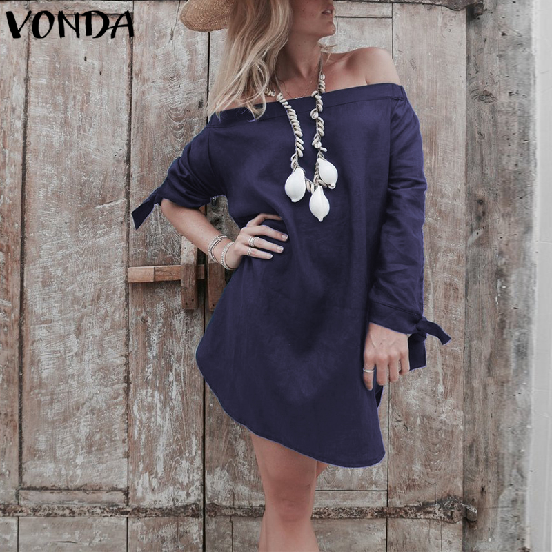 VONDA Women Vintage Mini Dress 2018 Spring Autumn Casual Dress Sexy Off Shoulder Split Hem Long Sleeve Solid Vestidos Plus Size