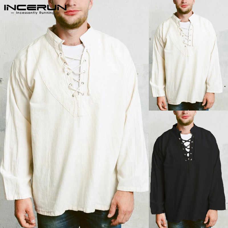 2d0698538a58 2019 INCERUN Retro Mens Tee Tops Long Sleeve Bandage Shirt Knight Top  Medieval Peasant Vintage Clothing