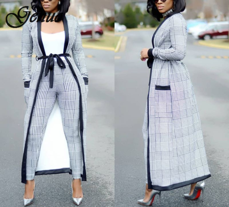 2019 Plaid Print Coat+tshirt+Pant Summer Tracksuit Full Sleeve Fashion Sexy Women's Set Three Pieces Jumpsuit Suits Casual