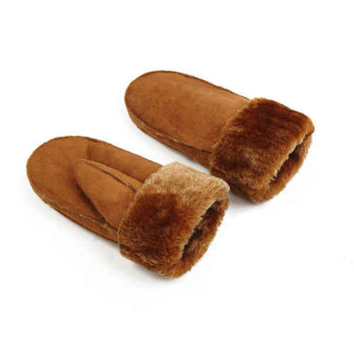 Vrouwen Meisje Echte Schapenvacht Wanten Handschoenen Bont Lederen Winter Warm Handschoen Fleece Gevoerde Thermische Dikke Handschoenen