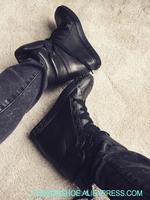 2019 осенние Популярные черные замшевые кожаные женские повседневные туфли на высоком каблуке женские туфли высокого качества в римском сти