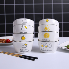 Nordic Style Ceramic Home Salad Bowl Creative Cartoon Square Cute Tableware Hotel Rice Kitchen Cooking Kids Cutlery